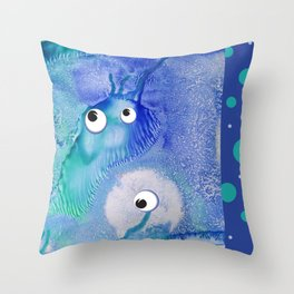 Bubble Monsters Throw Pillow