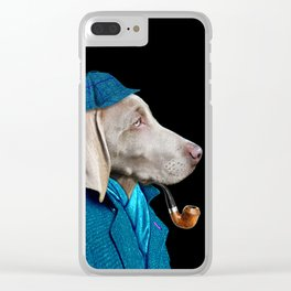 Dog Sherlock Holmes Clear iPhone Case