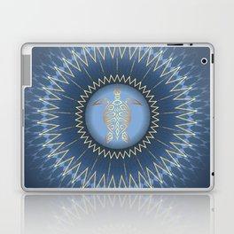 Dark Blue Gold Turtle And Mandala Laptop & iPad Skin