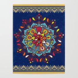 V10 Moroccan Art Traditional Floral Design Poster