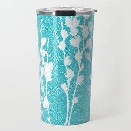Pussywillow Silhouettes – Teal Texture Travel Mug