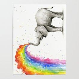 Rainbow Baby Elephant Poster