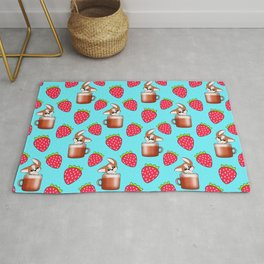 Cute little happy funny little baby Corgi puppies sitting in espresso coffee cups, yummy red ripe sweet summer strawberries light pastel blue fruity pattern design. Rug