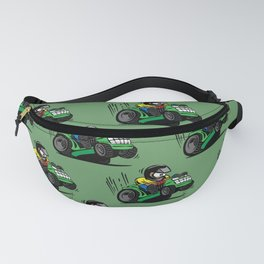 Cartoon racing riding lawnmower tractor popping a wheelie Fanny Pack