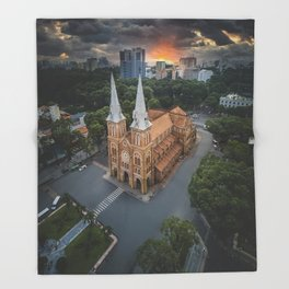 Notre-Dame Cathedral Basilica of Saigon Throw Blanket