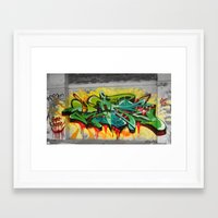 one piece Framed Art Prints featuring As One graf piece  by Az One Graffiti