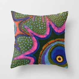 Starburst and polkadots batik Throw Pillow