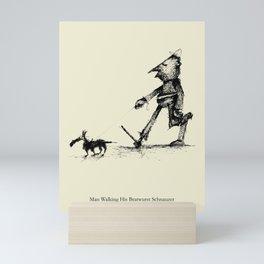 Man Walking His Bratwurst Schnauzer Mini Art Print