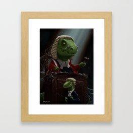 Dinosaur Judge in UK Court of Law Framed Art Print