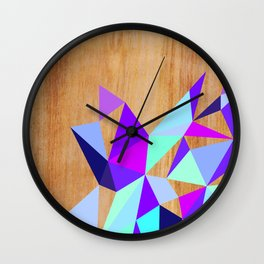 Wooden Geo Purple Wall Clock