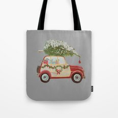 Vintage tree on red car gray background Tote Bag