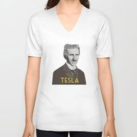 tesla V-neck T-shirts featuring Tesla by DariyCraft