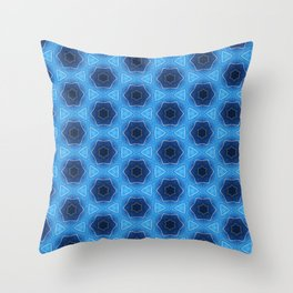 Blue sparkles silver stars pattern 1 Throw Pillow