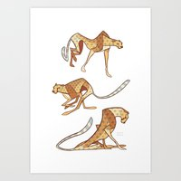 cheetah Art Prints featuring Cheetah by Jemma Salume