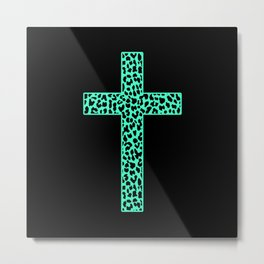Mint Leopard Cross Metal Print