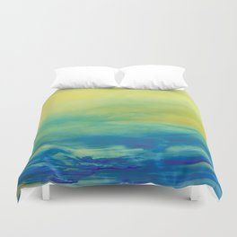 YELLOW & BLUE TOUCHING #1 #abstract #art #society6 Duvet Cover
