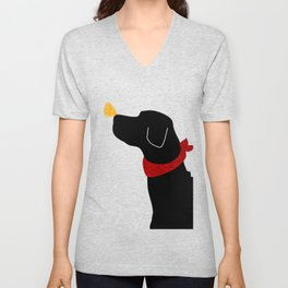 Black Labrador Retreiver Dog Print Unisex V-Neck