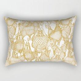just chickens gold white Rectangular Pillow