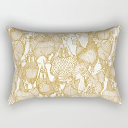 just chickens gold white Rectangular Pillow