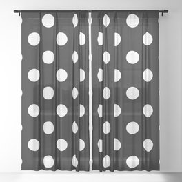 XXL White on Black Polka Dots Sheer Curtain