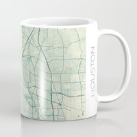 houston Mugs featuring Houston Map Blue Vintage by City Art Posters