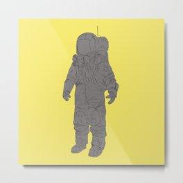 Astronaut Yellow Metal Print