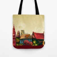 cities Tote Bags featuring Cities by Elisa Gandolfo