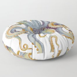 Octopus Tentacles Steel Blue Watercolor Art Floor Pillow