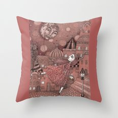 Strawberry Moon in June Throw Pillow
