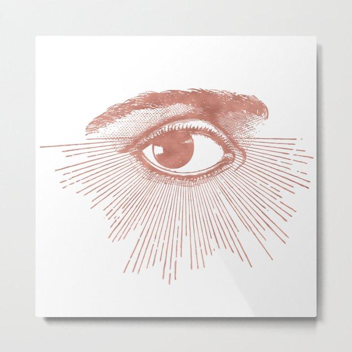 I see you. Rose Gold Pink Quartz on White Metal Print