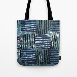 Black blue striped squares abstract painting Tote Bag