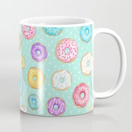 Scattered Rainbow Donuts on spotty mint - repeat pattern Coffee Mug