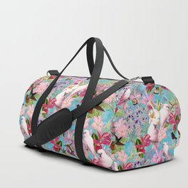Vintage & Shabby Chic - Pink Tropical Birds and Orchid Flower Pattern Duffle Bag