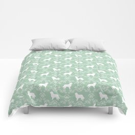 Bernese Mountain Dog florals dog pattern minimal cute gifts for dog lover silhouette mint and white Comforters