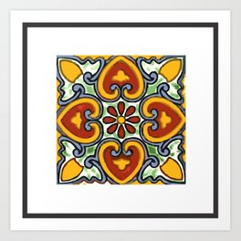 Talavera Mexican tile inspired bold design in green, gold, red and blue Art Print