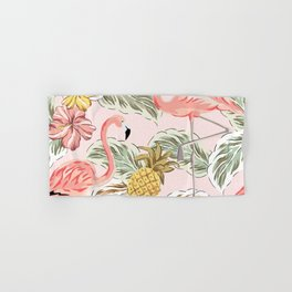 Art print in pink with flamingos, leaves and pineapple Hand & Bath Towel