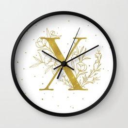 Letter X Gold Monogram / Initial Botanical Illustration Wall Clock
