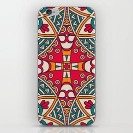 Red Turquoise Pattern iPhone Skin