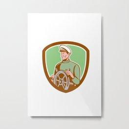 Fisherman Sea Captain Wheel Shield Retro Metal Print