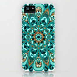Copper and Teal Mandala iPhone Case