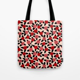 Red and Pink Rose Pattern Tote Bag