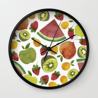 fruits Wall Clocks featuring fruits by Ana Rey