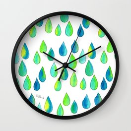 Cherish All of Your Tears blue green pattern tears illustration watercolor inspirational words Wall Clock
