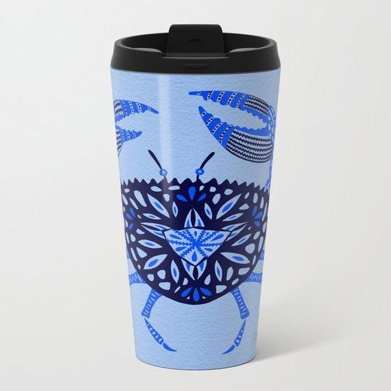 Blue Crab Metal Travel Mug