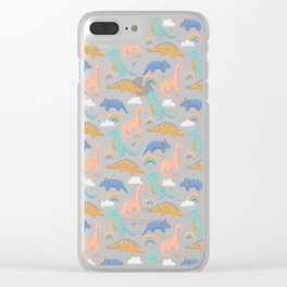 Dinosaurs + Rainbows in Blush Pink + Gold + Blue Clear iPhone Case