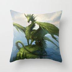 Green Dragon v2 Throw Pillow
