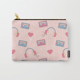 cute colorful pattern with headphones, hearts, dots and cassette tapes Carry-All Pouch