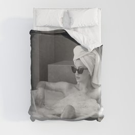 Female in Sunglass in Bathtub of Parisian cold-water flat black and white photograph - photography - photographs wall decor Duvet Cover