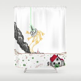Explosion at the Labs Shower Curtain