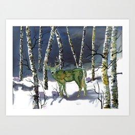 Winter deer - alcohol ink Art Print